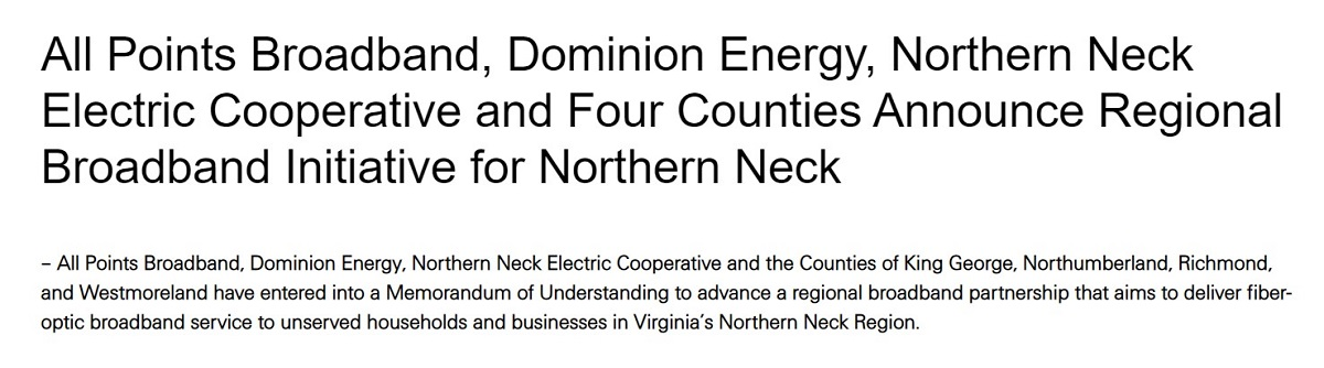 New Regional Broadband Initiative for the Northern Neck